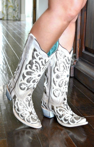 Corral - White Oxford Inlay, Crystals & Embroidery Boots