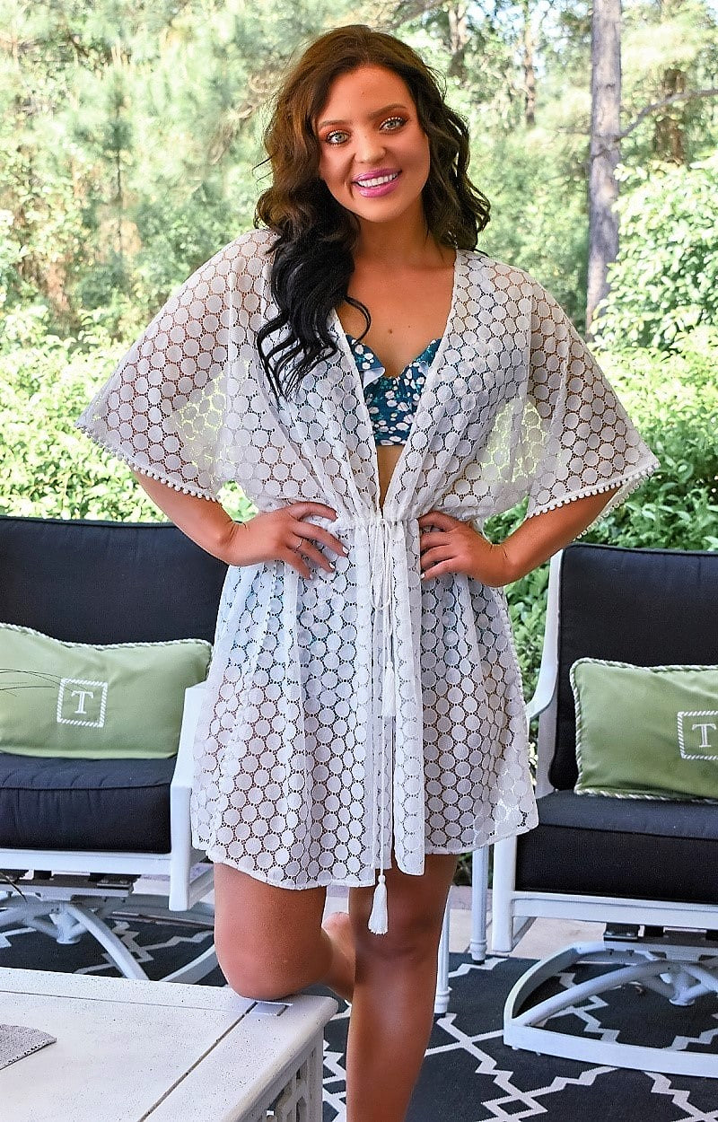 Vacation All Summer Kimono/Cover Up - White