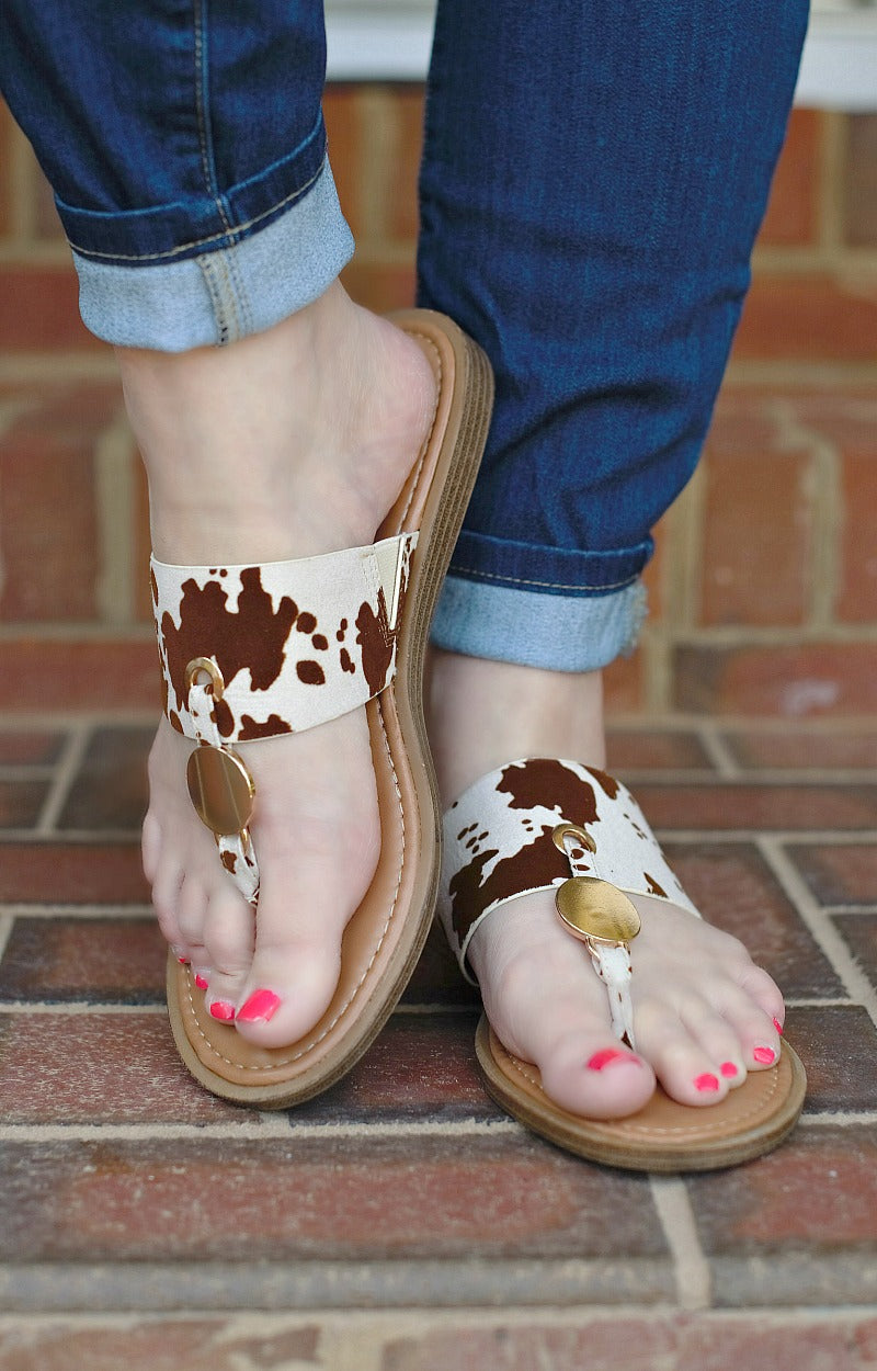 Load image into Gallery viewer, Live Wildly Print Sandals - Brown/White