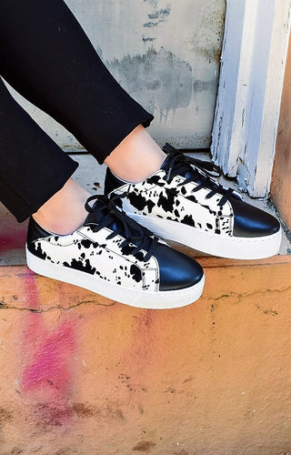 Before You Leave Cow Print Sneakers