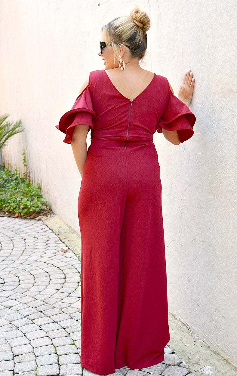 The Way To Your Heart Jumpsuit - Burgundy