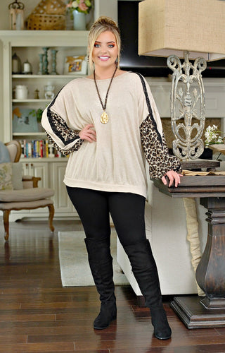How Sweet Print Top - Taupe