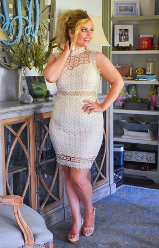 Put A Spell On You Crochet Dress - Blush