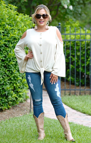 Lay It All Out Cold Shoulder Top - Taupe