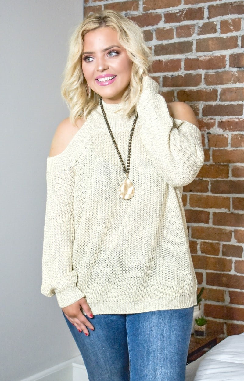 Load image into Gallery viewer, Why Not Now Cold Shoulder Sweater - Oatmeal