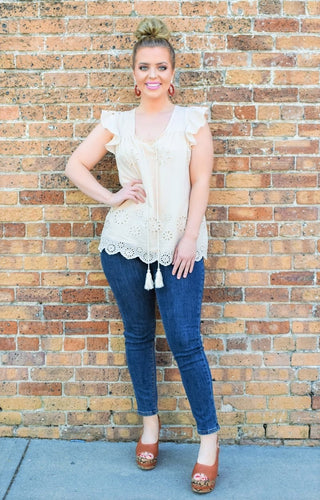 Opposites Attract Eyelet Top - Taupe
