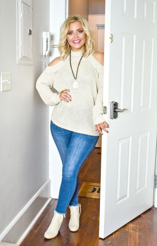 Why Not Now Cold Shoulder Sweater - Oatmeal