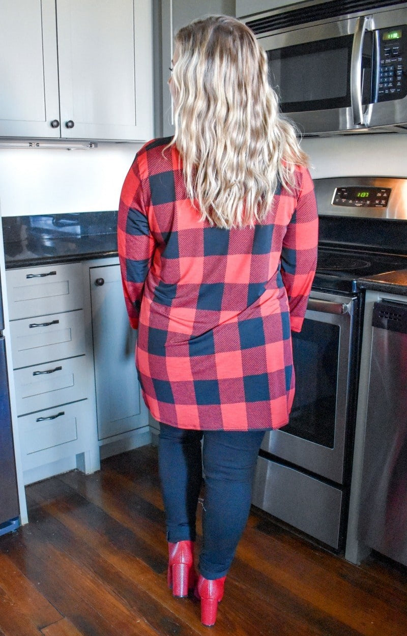 All For It Plaid Top - Black/Red