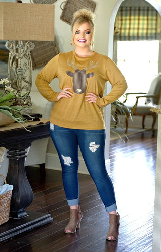 Shimmer & Shine Deer Sweater - Mustard