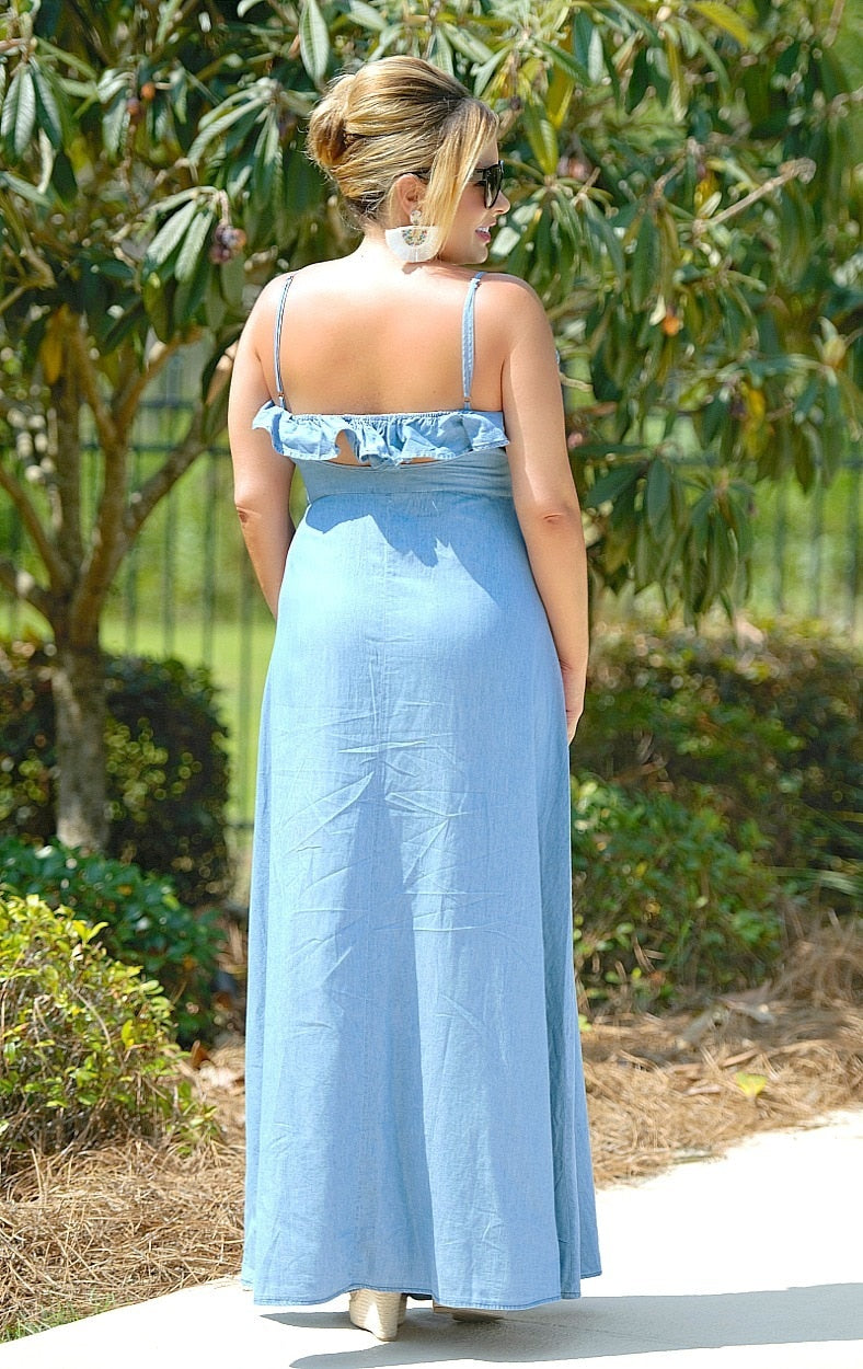 Load image into Gallery viewer, Separate Ways Denim Maxi Dress - Medium Wash