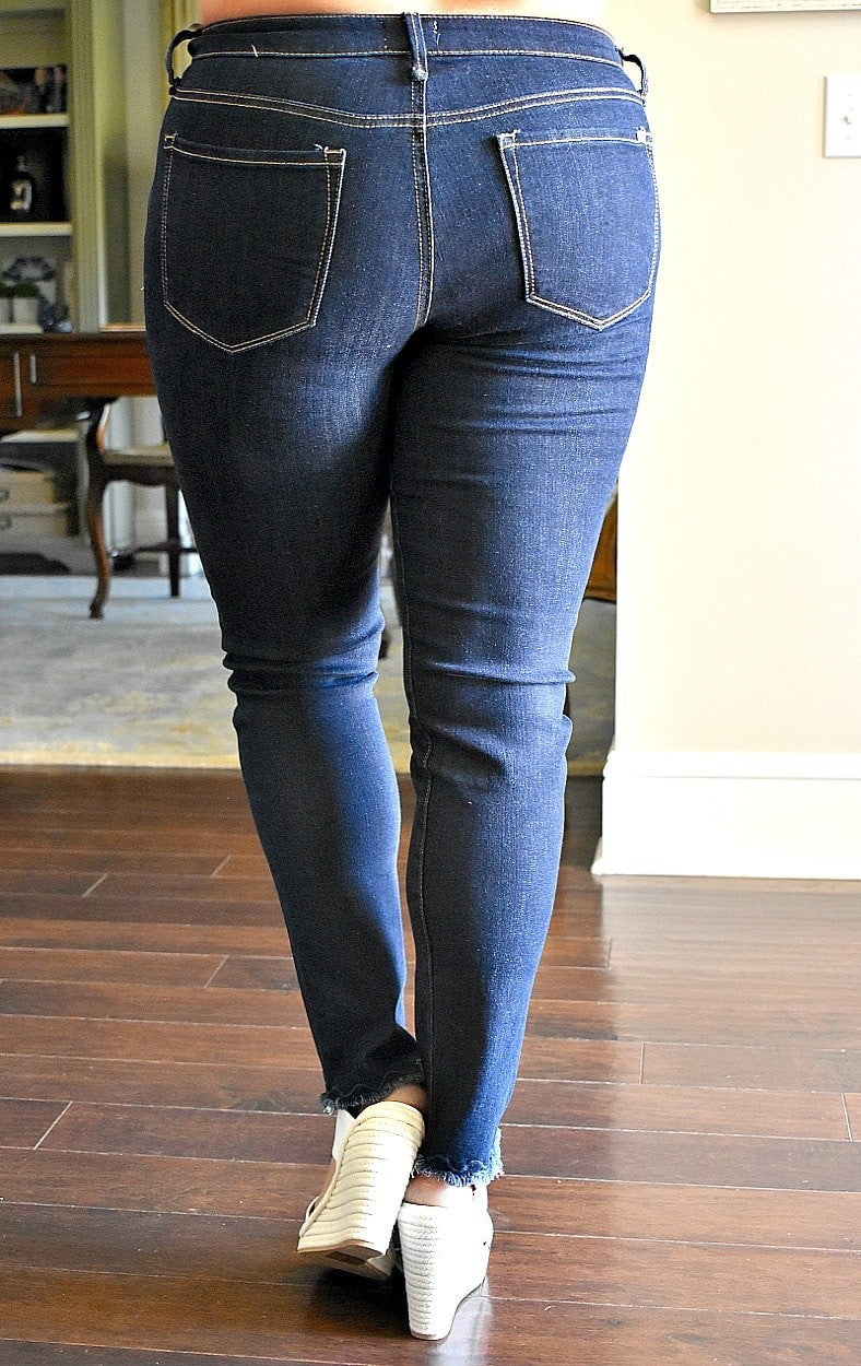 Load image into Gallery viewer, According To You Frayed Skinny Jeans
