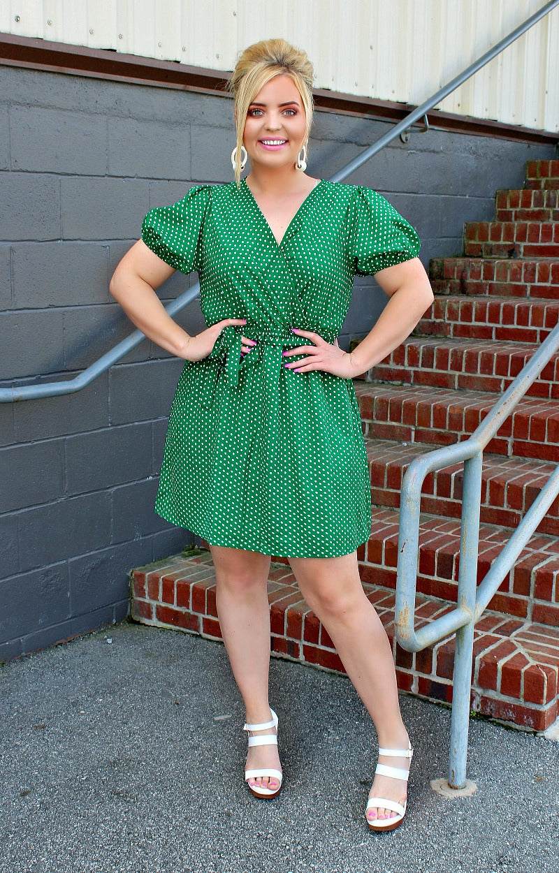 Load image into Gallery viewer, Deceiving Looks Polka Dot Wrap Dress - Kelly Green