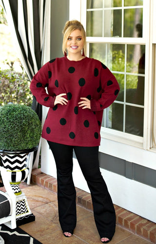 Take A Shot Polka Dot Sweater - Burgundy