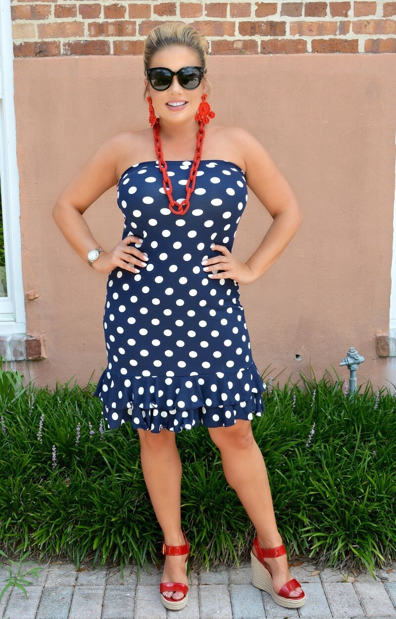 Load image into Gallery viewer, Melt Your Heart Polka Dot Dress - Navy