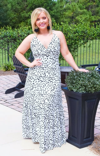 Ladies Night Print Maxi Dress - Off White/Black