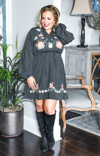 Memorable Moment Embroidered Dress - Black