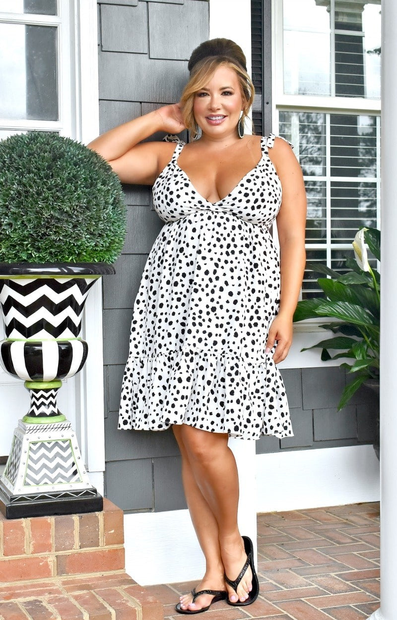 Meets The Standards Print Dress - Ivory/Black
