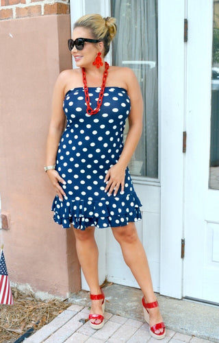 Melt Your Heart Polka Dot Dress - Navy