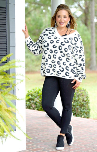 Keep Them Guessing Leopard Print Sweater - Ivory