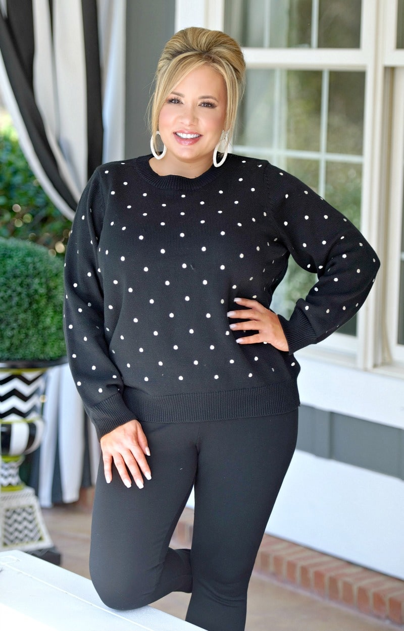 Give My Best Dot Sweater - Black