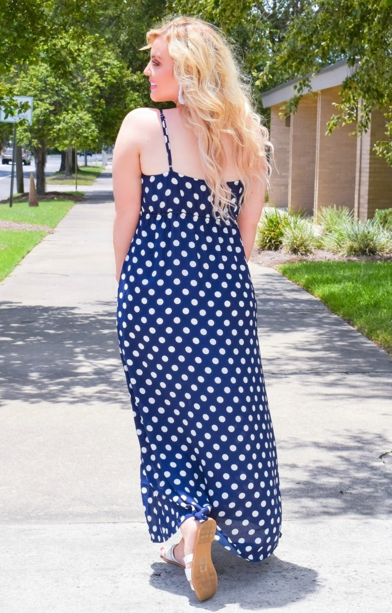 Innocent Touch Polka Dot Maxi Dress - Navy