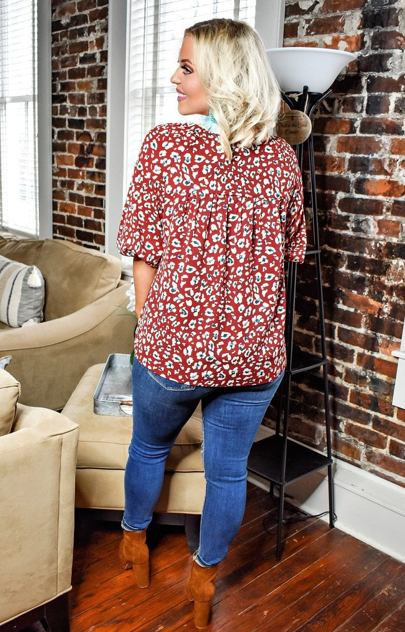 Load image into Gallery viewer, Ready To Play Leopard Print Top - Burgundy
