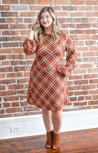Modern Romance Plaid Dress - Rust