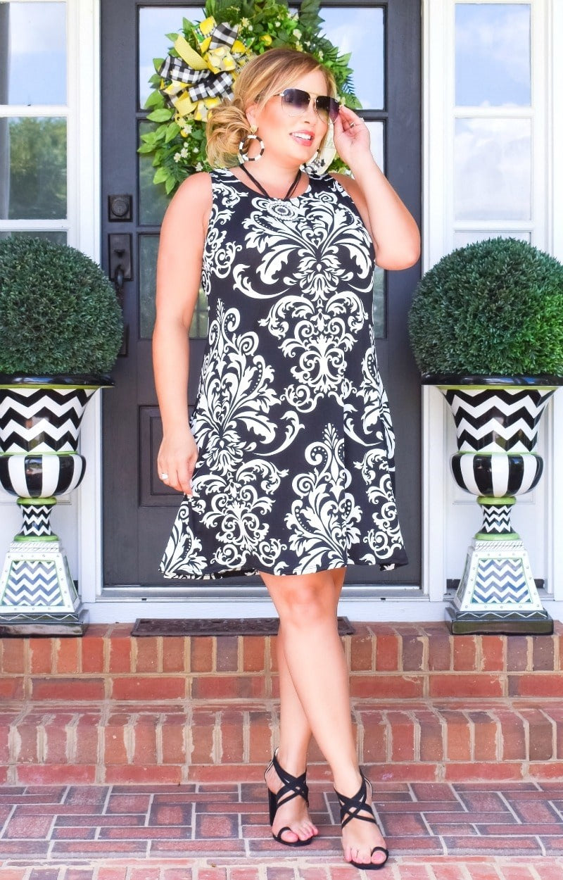 Load image into Gallery viewer, All Around Town Print Dress - Black