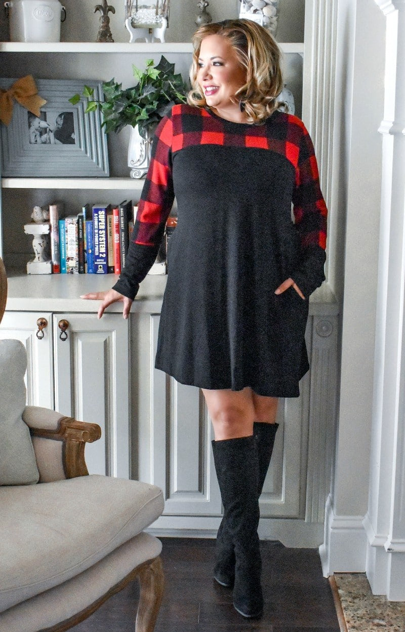 Load image into Gallery viewer, Simple Joys Plaid Dress - Black/Red