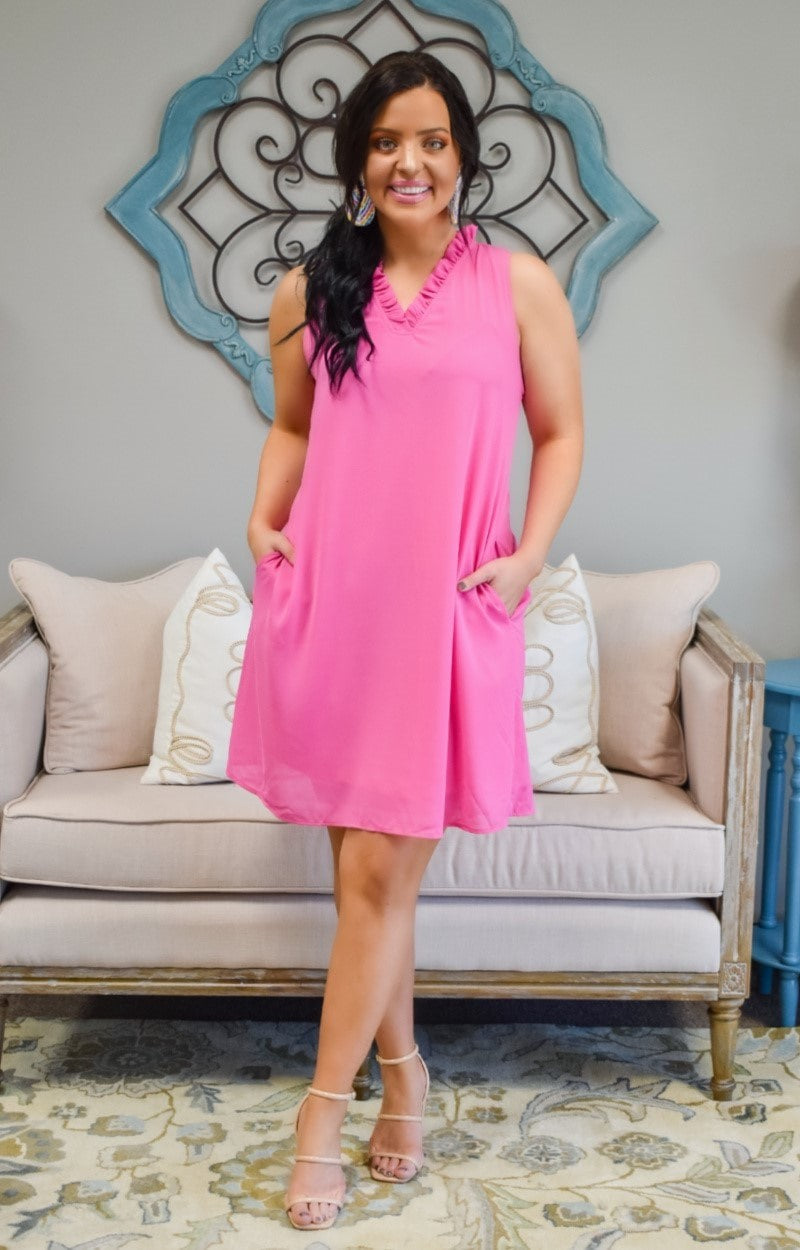 Load image into Gallery viewer, Think Again Dress - Hot Pink