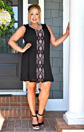 Secret Code Print Dress - Black
