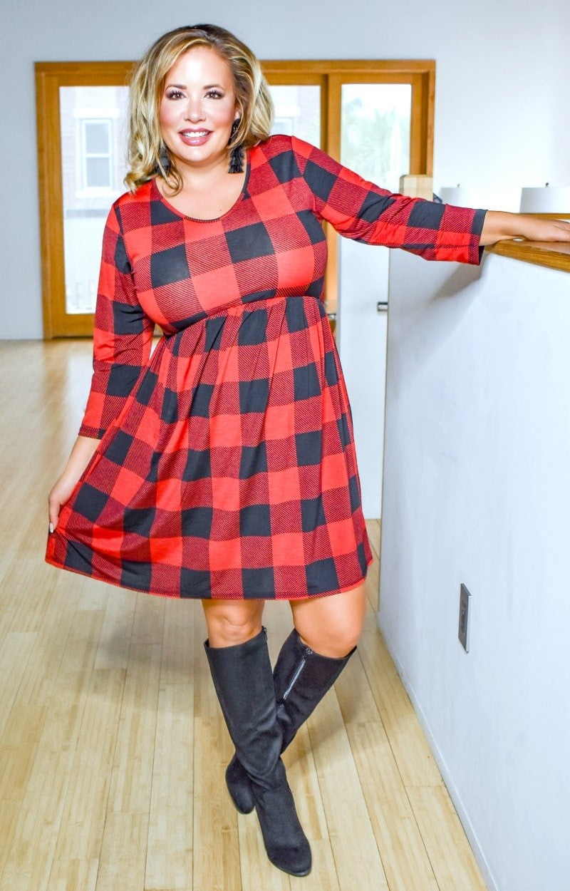 On Her Way Plaid Dress - Red/Black