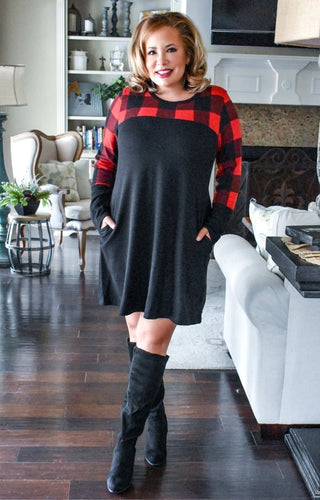 Simple Joys Plaid Dress - Black/Red