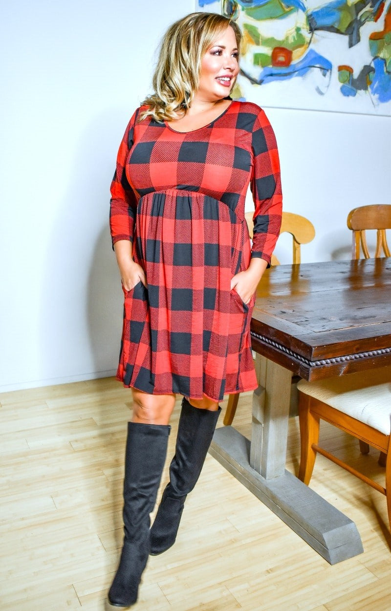 Load image into Gallery viewer, On Her Way Plaid Dress - Red/Black