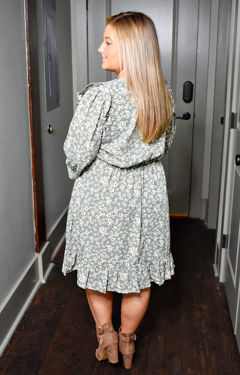 Load image into Gallery viewer, Take Me Back Floral Dress - Sage