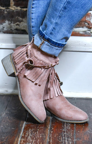 Early Mornings Fringe Booties - Dusty Rose