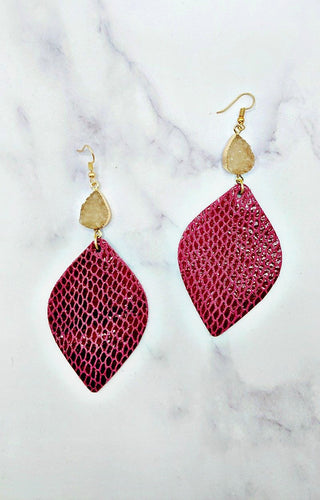 My Own Plans Earrings - Dark Pink