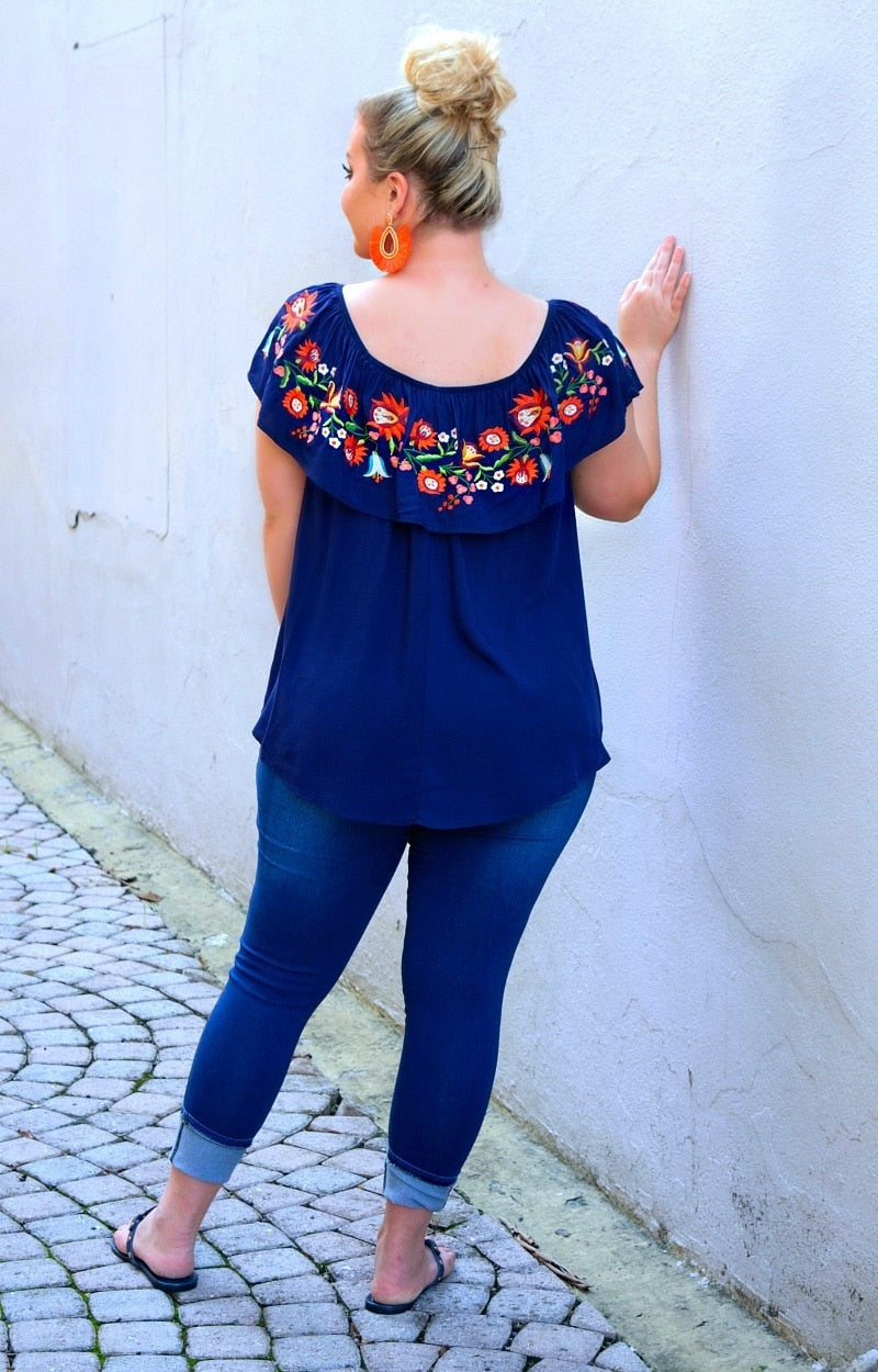 Load image into Gallery viewer, Always Fortunate Embroidered Top - Navy
