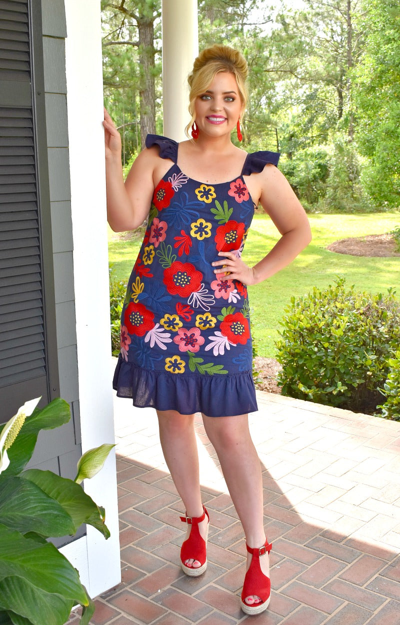 Simply Adore You Floral Dress - Navy