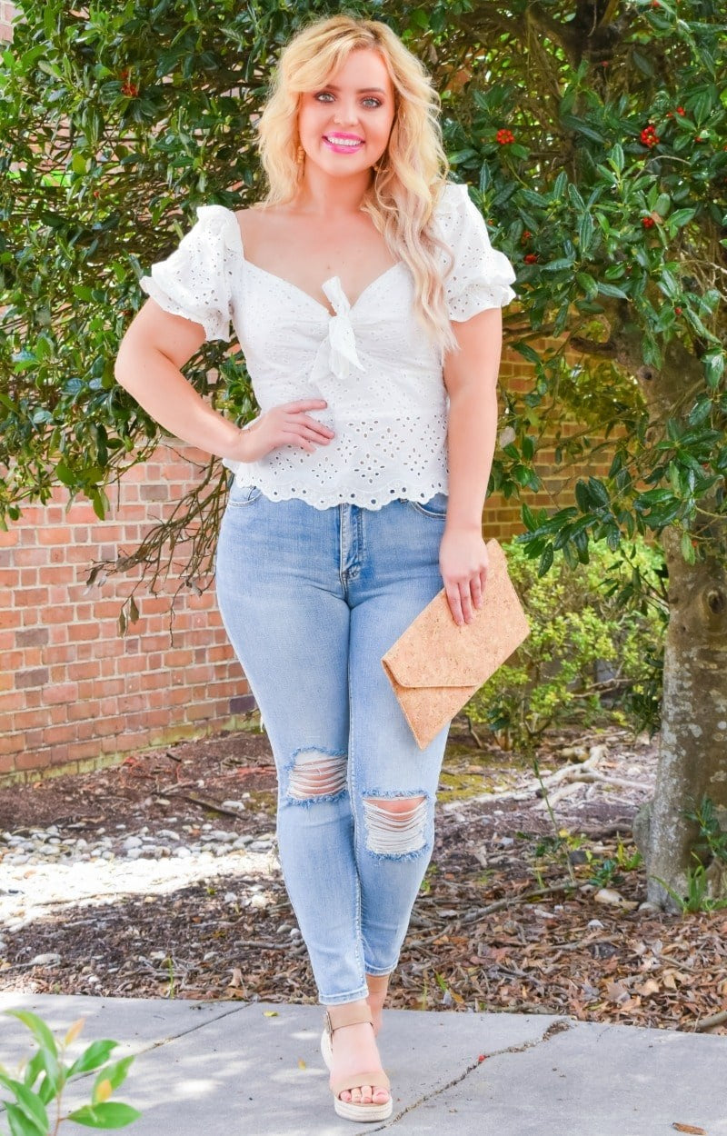 No Competition Eyelet Top - Ivory