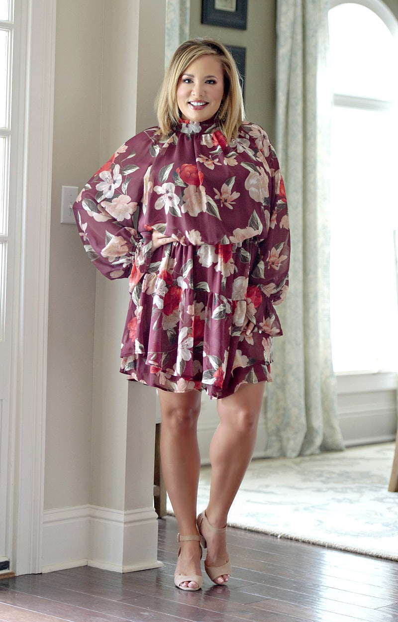 Load image into Gallery viewer, Not In A Hurry Floral Dress - Burgundy