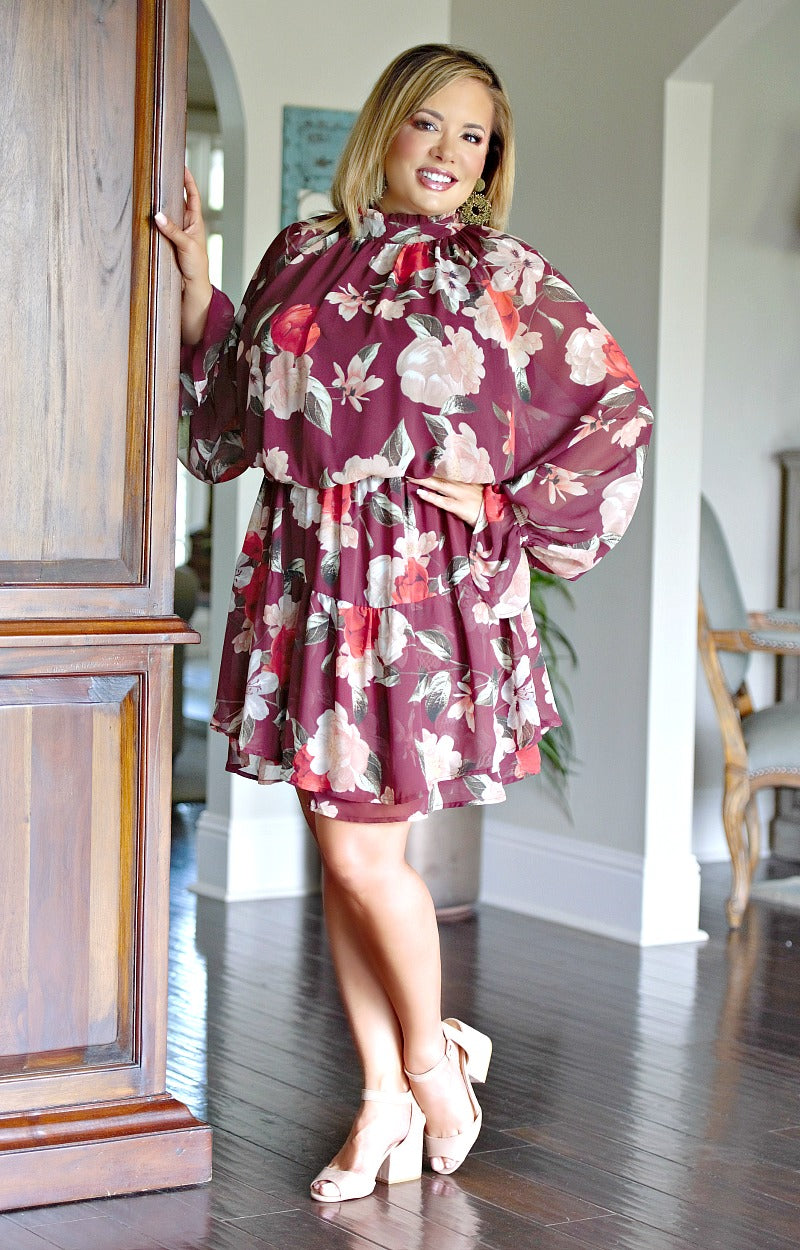Not In A Hurry Floral Dress - Burgundy