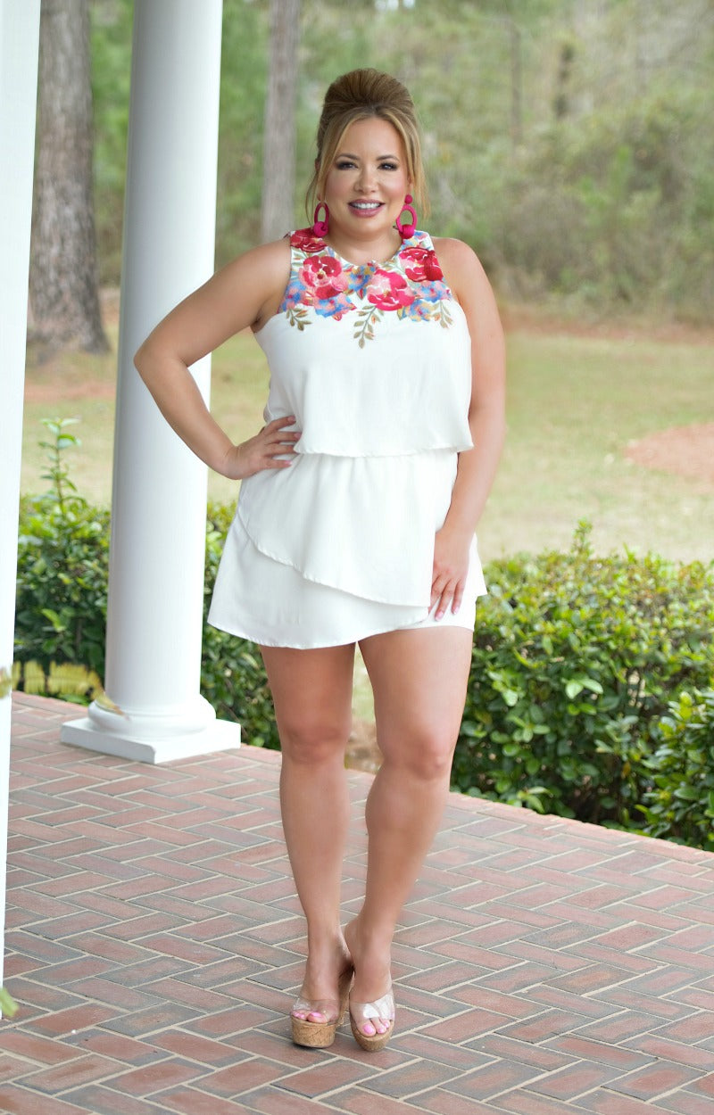 Fun & Flirty Embroidered Romper - Ivory