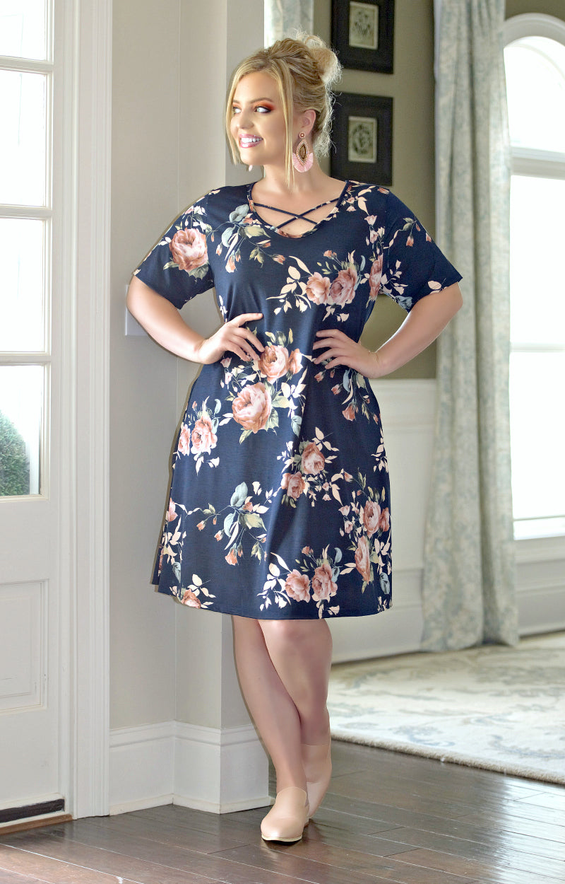 Load image into Gallery viewer, Deep In Thought Floral Dress - Navy