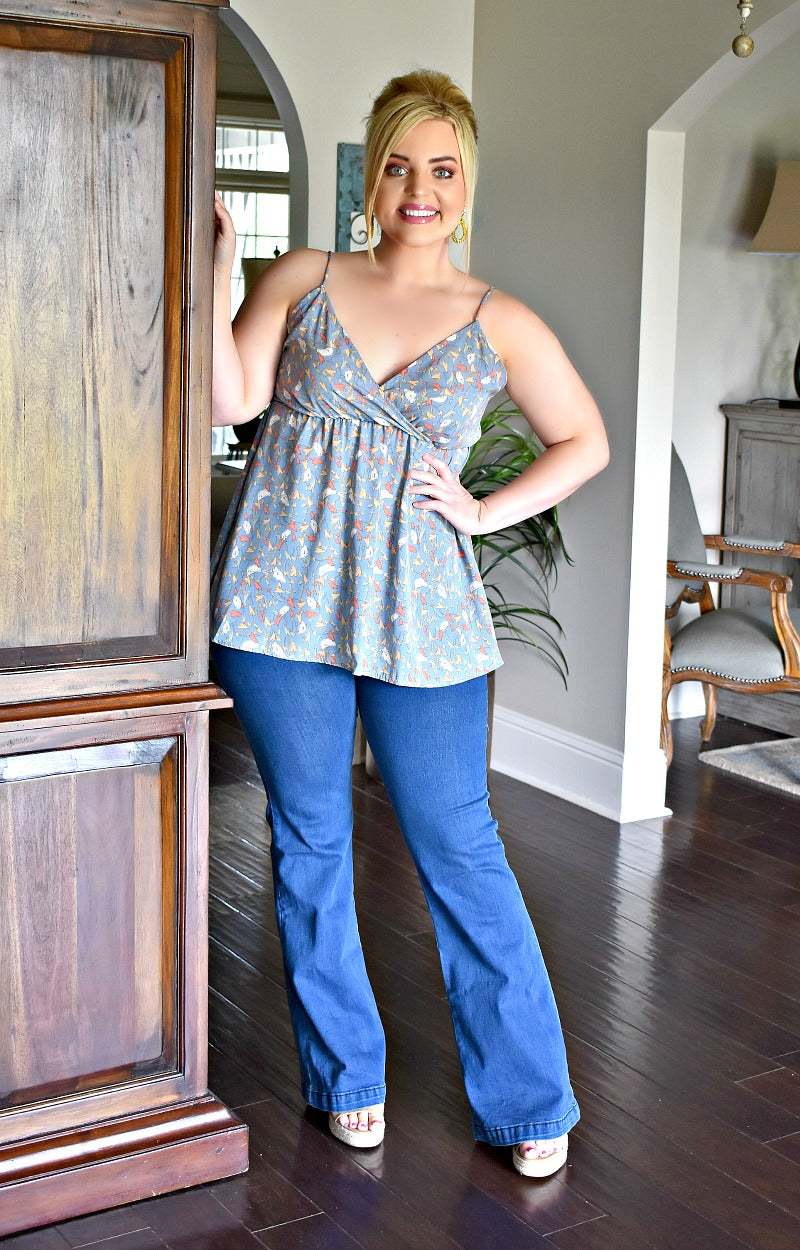 Make It Graceful Floral Top - Denim Blue