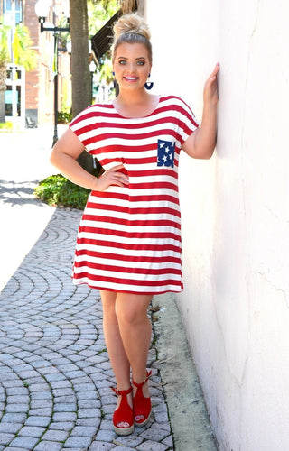 America The Beautiful Print Dress - Red/White