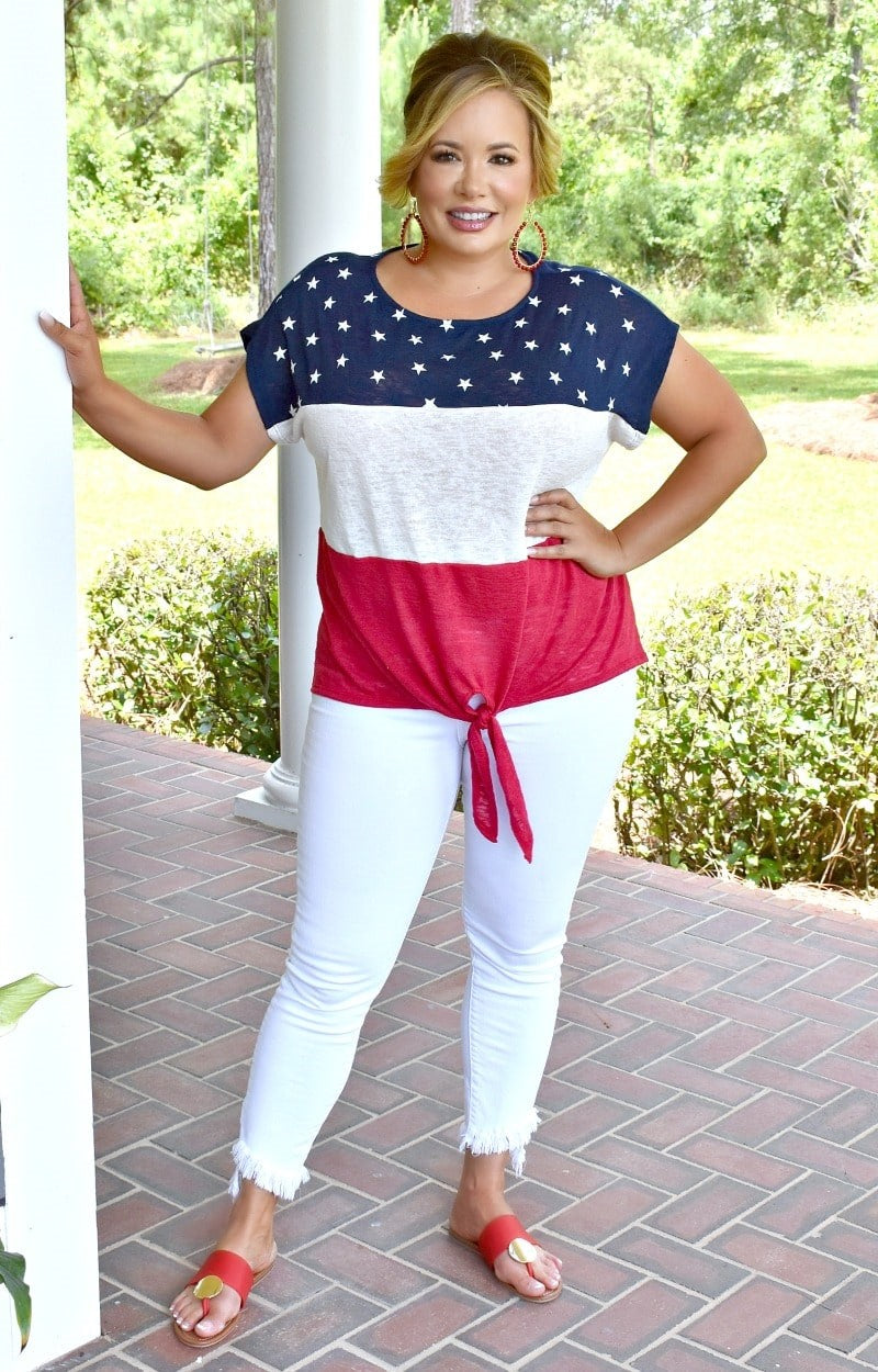 Load image into Gallery viewer, Patriotic Heart Print Top