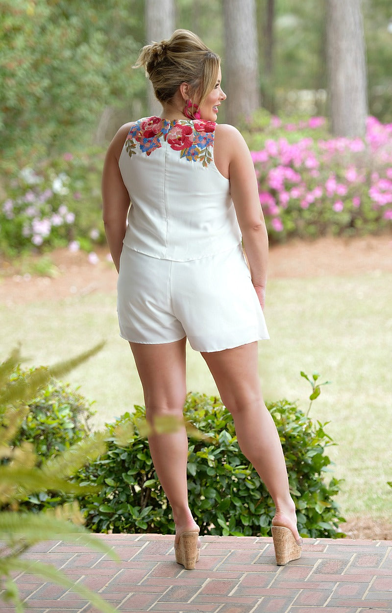 Load image into Gallery viewer, Fun & Flirty Embroidered Romper - Ivory