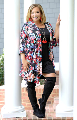 Better Days Floral Cardigan - Black