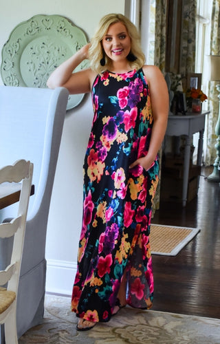 Glimpse Of Gorgeous Floral Maxi Dress - Black